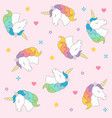 unicorn head seamless pattern colorful on pink vector image