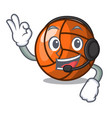 with headphone volleyball mascot cartoon style vector image