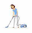 young woman with a vacuum cleaner - cartoon people vector image