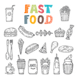Hand drawn set of fast food Collection of various vector image