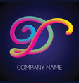 d letter logo icon blending color vector image