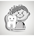 smiling child and tooth cartoon vector image