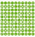 100 cleaning icons hexagon green vector image vector image