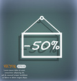 50 discount icon sign On the blue-green abstract vector image