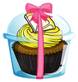 A cupcake with a yellow icing vector image vector image
