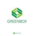 abstract double green arrow make box shape logo vector image