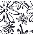 abstract pattern black flowers sketch style vector image vector image