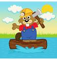 beaver on log