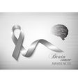 Brain cancer awareness ribbon vector image vector image