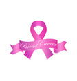 breast cancer awareness white ribbon on pink vector image vector image