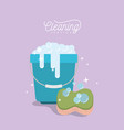 bucket with soap foam and sponge cleaning service vector image