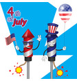characters fireworks rocket with ball flag vector image