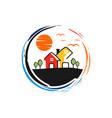 circular logo garden home vector image vector image