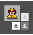 contour icon firefighter in a yellow form and a vector image