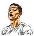 cristiano ronaldo cartoon portrait drawing vector image
