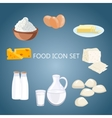 Dairy products flat cartoon vector image