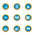 deliver the payload icons set flat style vector image