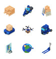 delivery of the future icons set isometric style vector image vector image