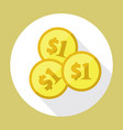 dollars coins icon vector image vector image