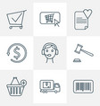 e-commerce icons line style set with auction vector image vector image