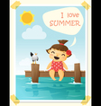 enjoy tropical summer holiday with little girl 4 vector image