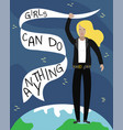 feminist girl power poster girls can do anything vector image vector image