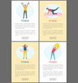 fitness workout people doing exercises web set vector image vector image