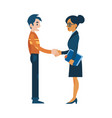 flat man woman business handshake deal vector image