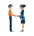 Flat man woman business handshake deal