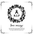 funeral card with rose flowers wreath vector image