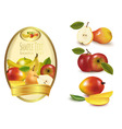 Gold label with fruit vector