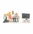 happy family watching tv - modern cartoon people vector image
