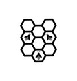 honeycomb and bee icon vector image vector image