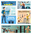 house repair apartment renovation workers banners vector image vector image