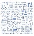 huge set blue hand drawn elements vector image vector image