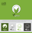 logo with plate and green leaves vector image