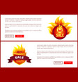 mega sale burning labels with info about discounts vector image vector image