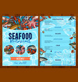 menu for seafood fish restaurant vector image vector image