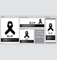 mock up mourning symbol with black respect ribbon vector image vector image