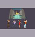 people dancing at nightclub dj playing music vector image