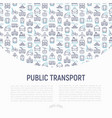 public transport concept with thin line icons vector image vector image