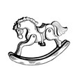 rocking horse toy engraving vector image vector image