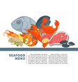 seafood menu poster design for fresh fish vector image vector image