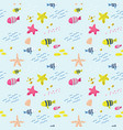seamless pattern with fish childish background vector image