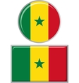 Senegalese round and square icon flag vector image