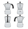 set of color of geyser coffee makers vector image vector image