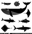 Set of geometrically stylized sea animal icons vector image vector image