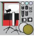 Set of photo studio equipment paper photo vector image vector image