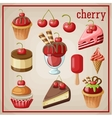 Set of sweets with cherry vector image vector image