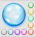 set of transparent colored spheres with shadows vector image vector image